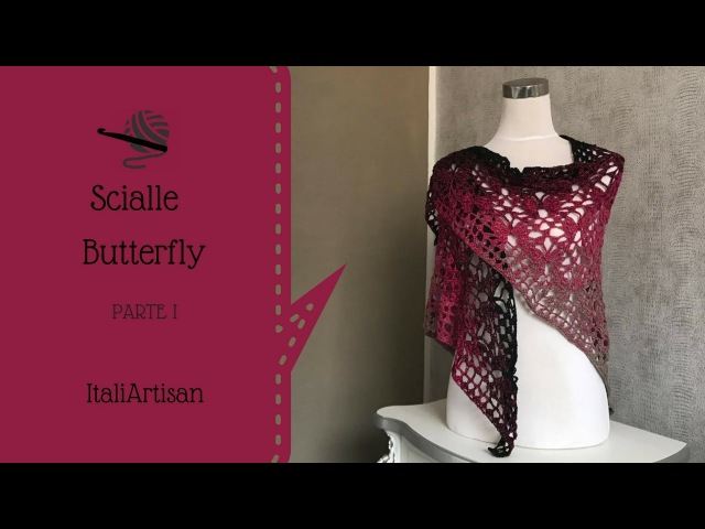 SCIALLE TRIANGOLARE BUTTERFLY alluncinetto, Scialle Farfalle, Punto farfalle triangolare