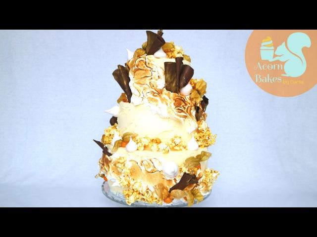 RUSTIC TIERED CAKE WITH ITALIAN MERINGUE   Cake Tutorial   Acorn Bakes