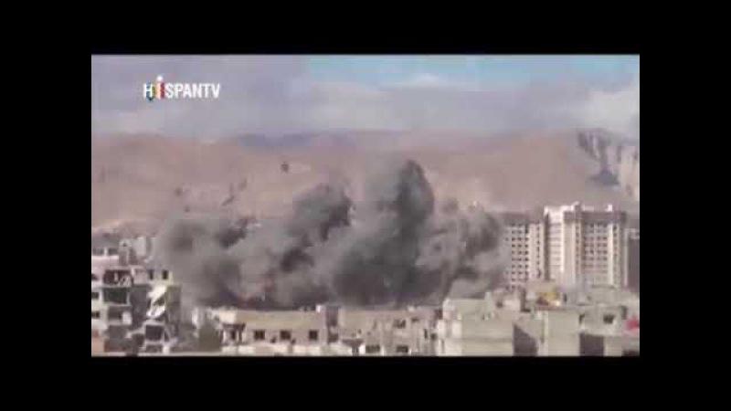 Aviación Siria atacando a terroristas en extrarradio de Harasta en Damasco