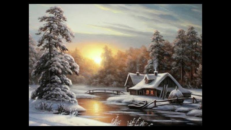Мастер-класс Зимний пейзаж с избушкой