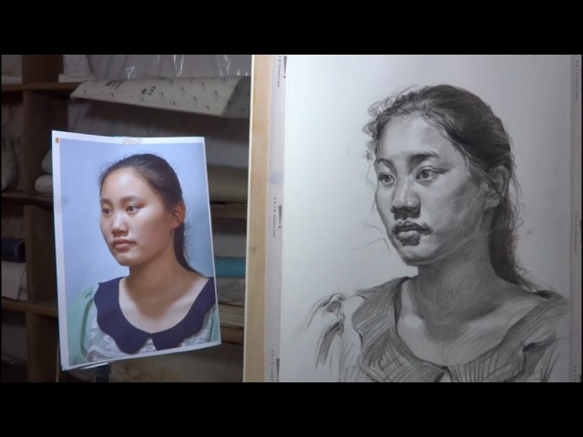 Young Girl's portrait drawing in Pencil
