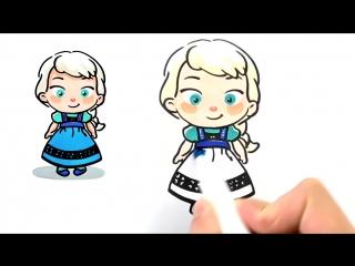 Как нарисовать малышек Анну и Эльзу