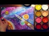Как нарисовать космос акварелью поэтапно. Видео уроки рисования для детей 6-8 лет