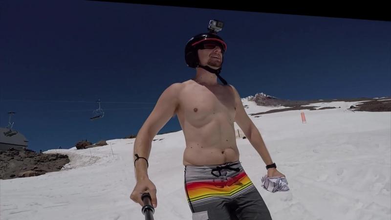 GoPro Hero 5 сфокусировалась на соске лыжника.