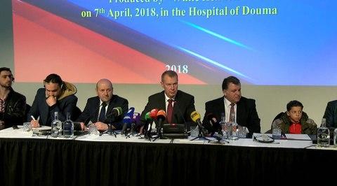 Вести.Ru: Пресс-конференция очевидцев событий в городе Дума в Сирии. Полное видео