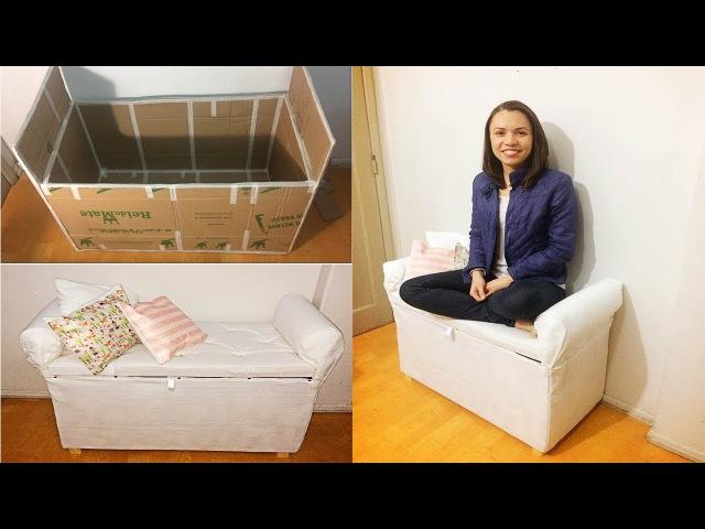 DIY Mini sofá/sapateira de PAPELÃO | Polly Peçanha