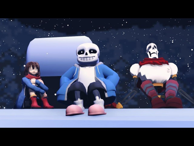 Undertale animation comix РАЗГОВОР САНСА И ФЛОУВИ ПЕРЕД РОЖДЕСТВОМ MMD