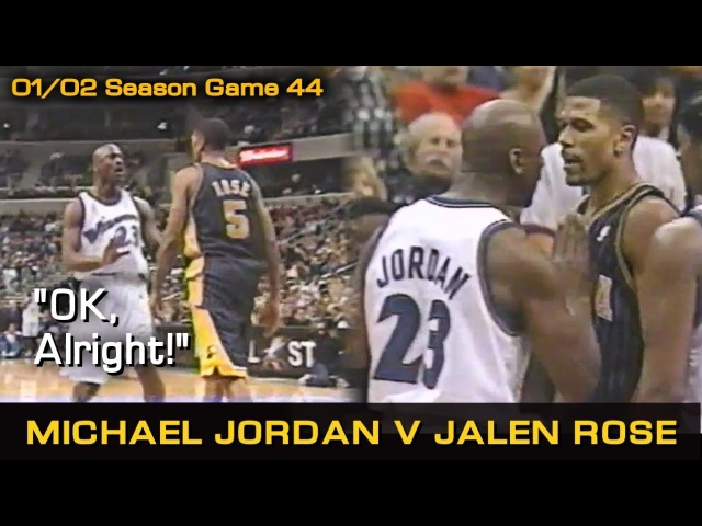 Michael Jordan Trashtalks And Wrestles Jalen Rose! OK, Alright! Pacers @ Wizards (02.03.2002)