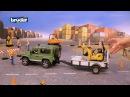 Джип с прицепом Land Rover Defender, мини экскаватор 8010 JCB, фигурка рабочего 02-593 BRUDER