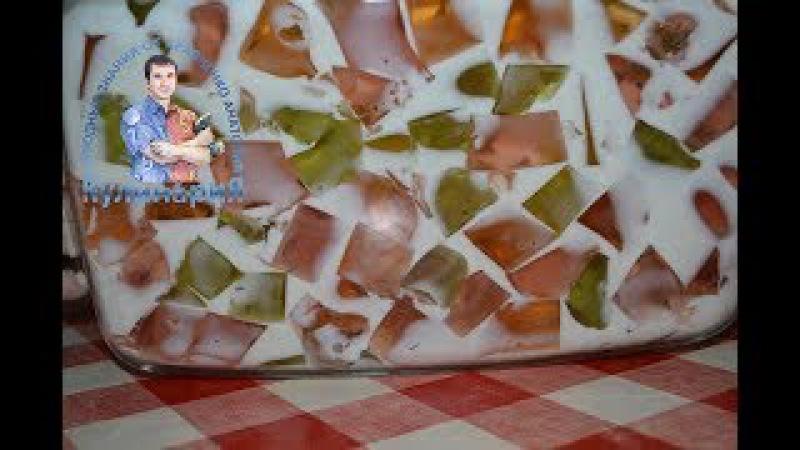 Очень легкий, вкусный и красивый торт битое стекло со сметаной
