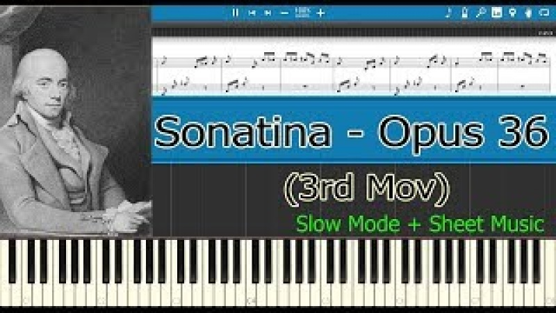 Sonatina Opus 36 N° 1, Opus 36, 3rd Mov - Clementi [Slow Sheet Music] (Piano Tutorial)
