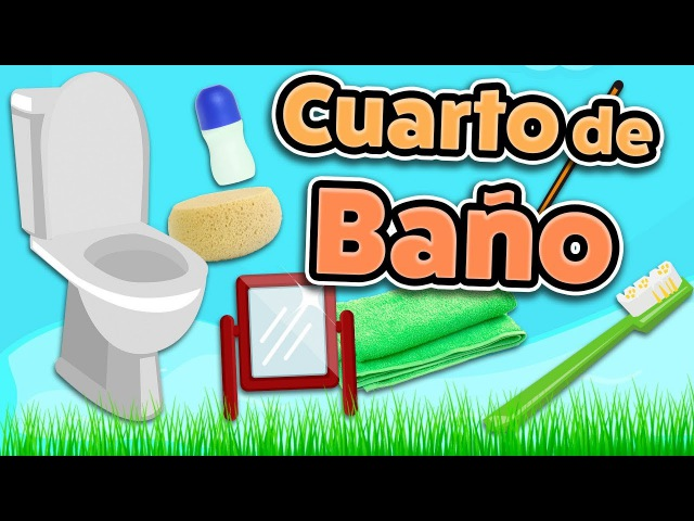 Bathroom vocabulary in Spanish for beginners and kids (Cuarto de baño en español)