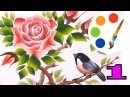 Paint the bird and the rose on the stem with torns, part 1, irishkalia