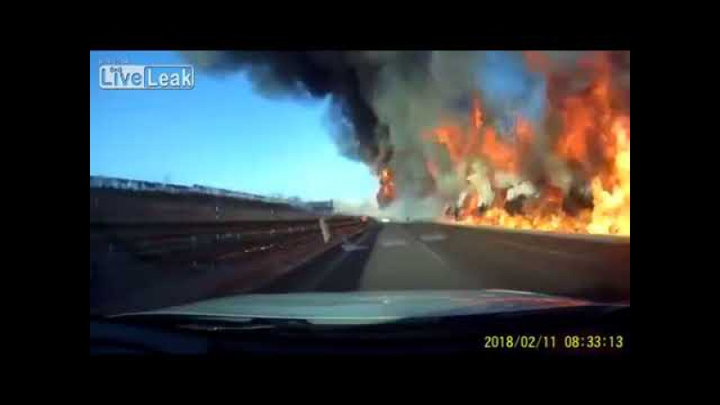 Car drives over spilled liquefied petroleum gas and explodes