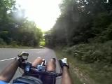 Downhill of _Toutes Aures_ and _Parménie_ pass with a Zockra Kouign Amann recumbent lowracer [360p]
