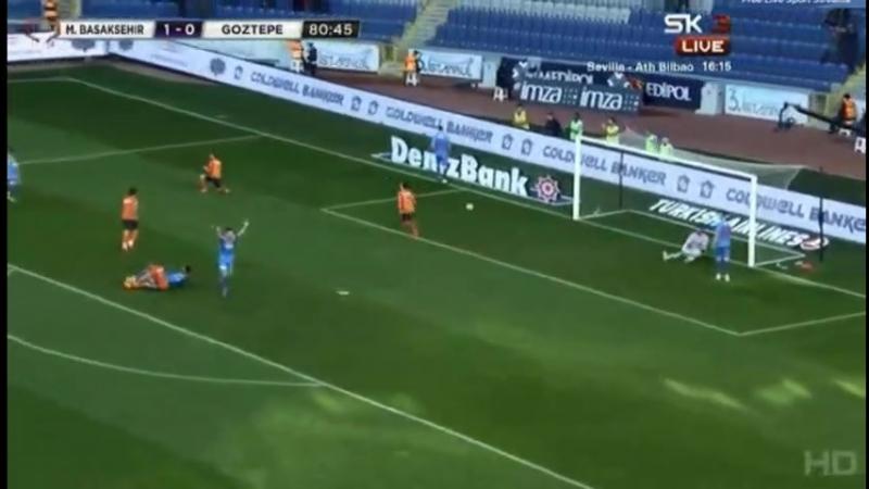 Мевлют Эрдинч забивает второй гол в ворота Гёзтепе