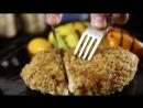 Стейк из индейки в панировке из хлопьев с овощным гарниром   Простой рецепт