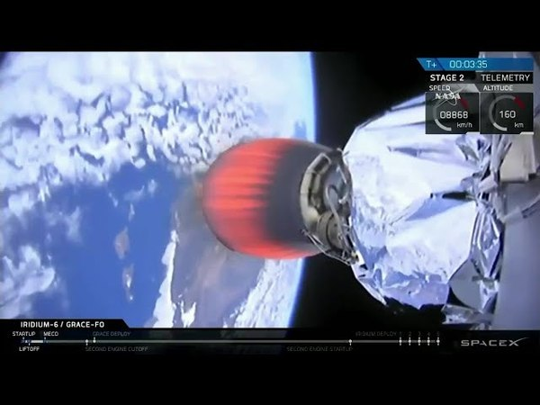 Launch of SpaceX Falcon 9 from Vandenberg with Iridium NEXT Flight 6 GRACE-FO