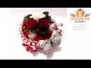 12001 - Подарок для девочки - торт из шоколадок Киндер и живых роз