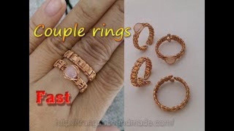Couple rings from copper wire and small Cabochon - Fast version 327