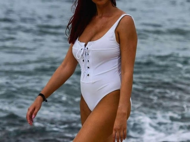 Amy Childs White Swimsuit on the beach in Cape Verde