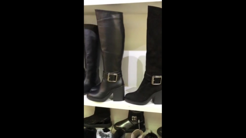 код: 2875-1 Женские зимние сапоги-европейка, из натуральной кожи, черные, на небольшом, устойчивом каблуке