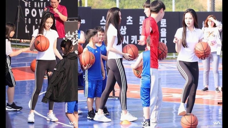 180425 농구 클리닉 체험하는 에이핑크 손나은 직캠 @아디다스 사회공헌 프로젝53944