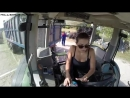 Девушка гоняет на тракторе