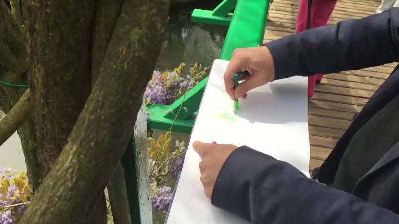 Рикард Эфа рисует озеро в саду Моне