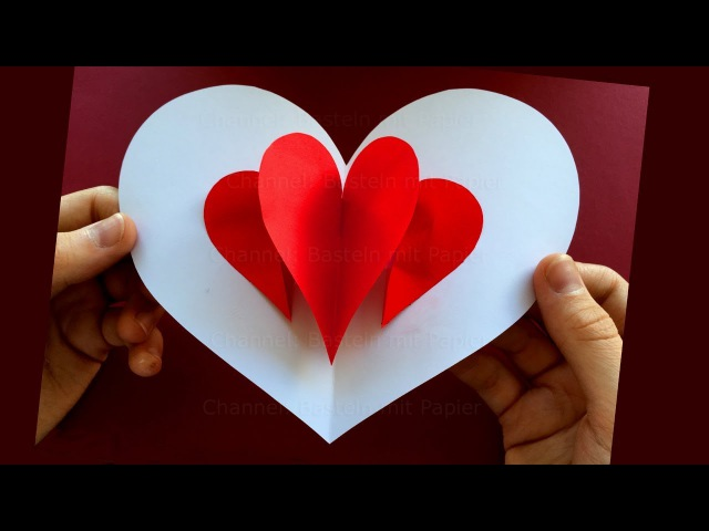 Pop Up Karte: Herz ❤ Basteln mit Papier ❤ Bastelideen ❤ DIY Geschenke selber machen