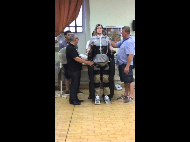 REX - Rob Camm C3 Tetraplegia using thought control to walk in a REX robot