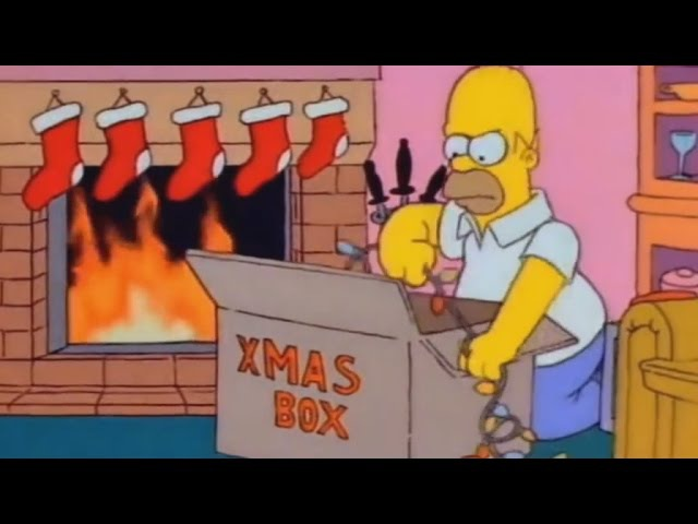 Homer Puts Up Christmas lights - The Simpsons