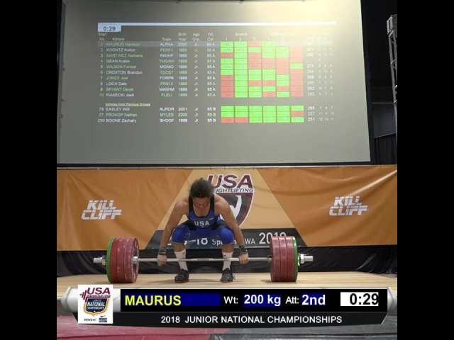 """USA Weightlifting on Instagram: """"@harrison_maurus sets a new JUNIOR AMERICAN RECORD with a 200kg Clean and Jerk in the 85kg weight category at 18N..."""
