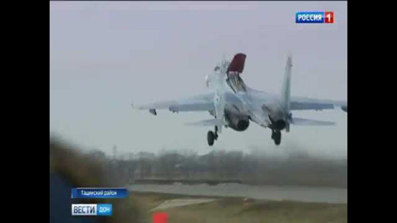 Учения в Тацинском районе на трассу Ростов Волгоград сели боевые самолеты