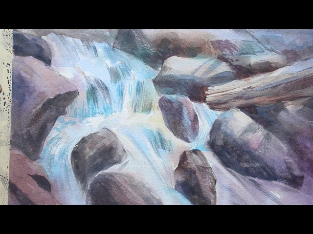 Rough waterfall in watercolor