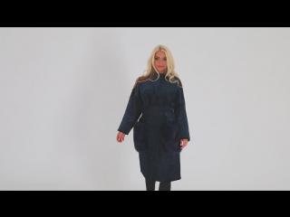 Шуба под синий каракуль с карманами