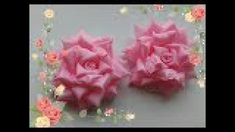 Бантики Розы из репсовых лент 2,5 см. МК Канзаши /Bows rose of REP ribbons 2.5 cm. MK Kanzashi
