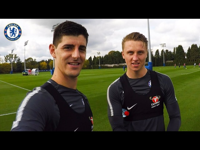 I Think My Nose Blocks The Viewer Training With Thibaut Courtois | Player Training Cam vk.comchelsea