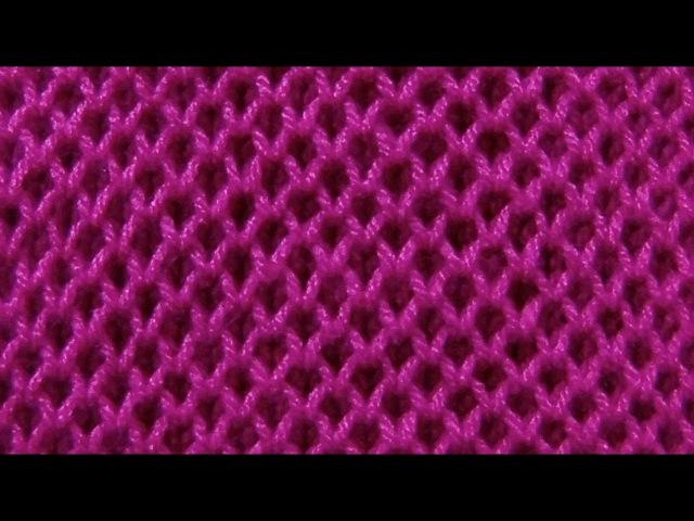 Узор патентная сеточка или соты Вязание спицами Видеоурок 212