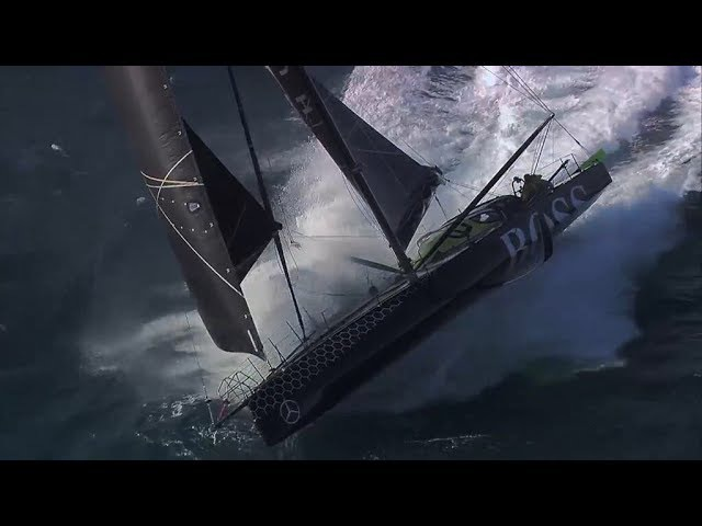 Alex Thomson 33 knots sailing with Paulo Mirpuri in big waves fast and wild