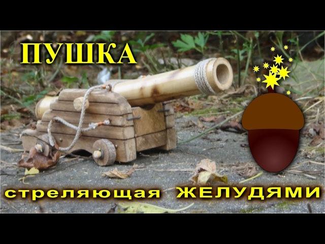 Старинная деревянная пушка стреляет желудями как ядрами.