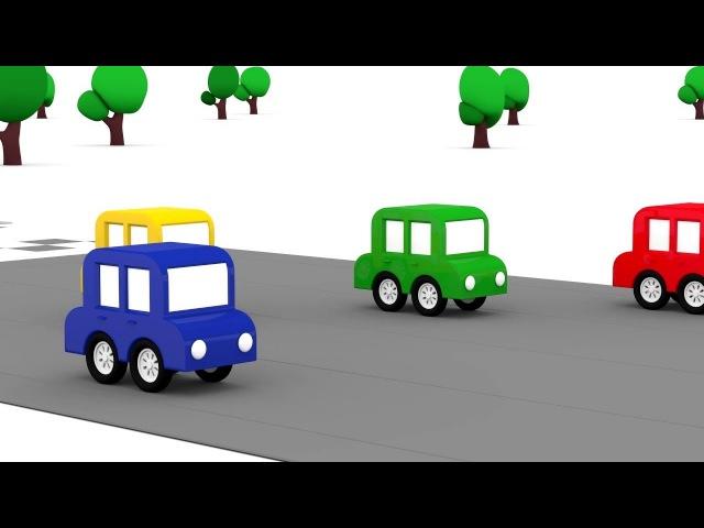 4 voitures colorées Nouvelle course. Dessin animé éducatif