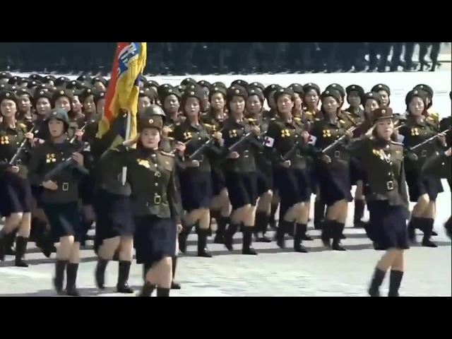 Some Bee Gees music over North Korean marching
