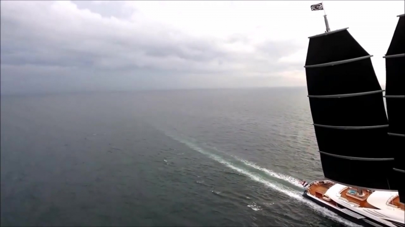 Oceanco 106m 347′10″ Black Pearl having sea trials with her sails set 1