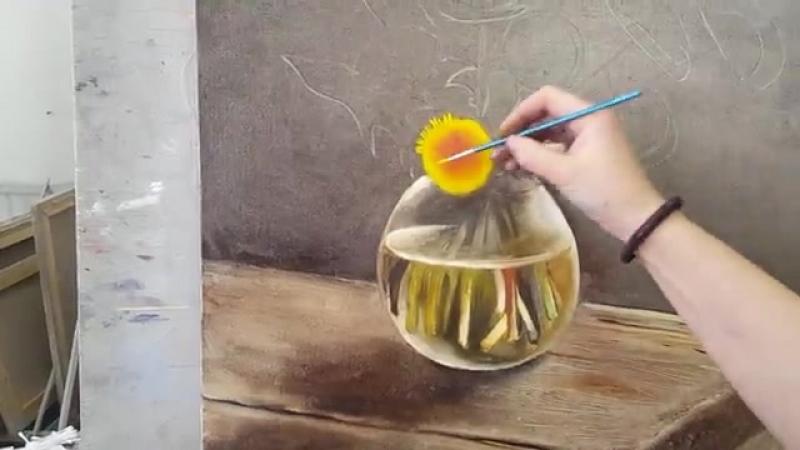 Одуванчики в технике жидкого масла Надежды Ильиной