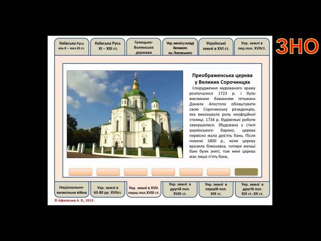 ЗНО з історії України Пам'ятки архітектури і мистецтва для розпізнавання з опис