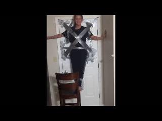girl duct tape to door falls challenge