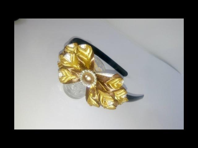Ободок канзаши. Ободок из атласных лент Канзаши. Kansashe's headband. Kanzashi flowers