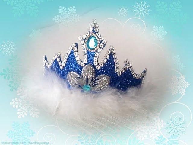 Корона снегурочки из глиттерного фоамирана Диадема Мастер класс 🎄