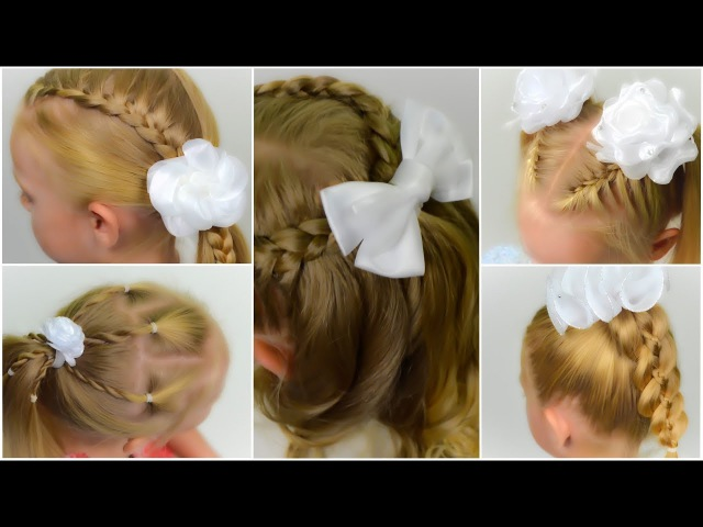 TOP 5 EASY BACK TO SCHOOL hairstyles with BOW. COMPILATION of QUICK and EASY hairstyles 1